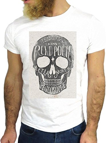 T SHIRT JODE Z1915 AMOUR POET PHILOSOPHY SKULL FUNNY VINTAGE COOL FASHION NICE GGG24 BIANCA - WHITE L