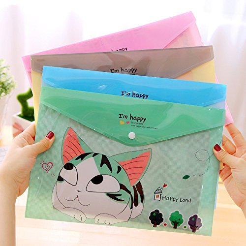 VANVENE 4 pcs/lot Korean stationery Cute cheese cat a4 file holder bag Kawaii PVC ducoment bags office material school supplies