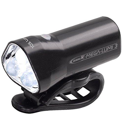 RavX Mega Lumi 3 White/Black 3 Mode Rechargeable Front Light