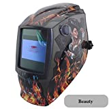 Pro Rechangeable Battery 4 Arc Sensor Solar Auto Darken/Shading Grinding Tig Arc Big View Welding Helmet/Welder Goggle/Mask/Cap Beauty