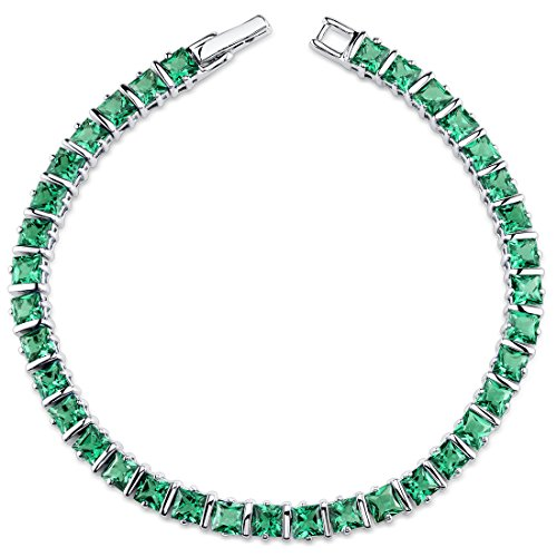 13.00 carats Princess Cut Simulated Emerald Bracelet in Sterling Silver Rhodium Nickel Finish