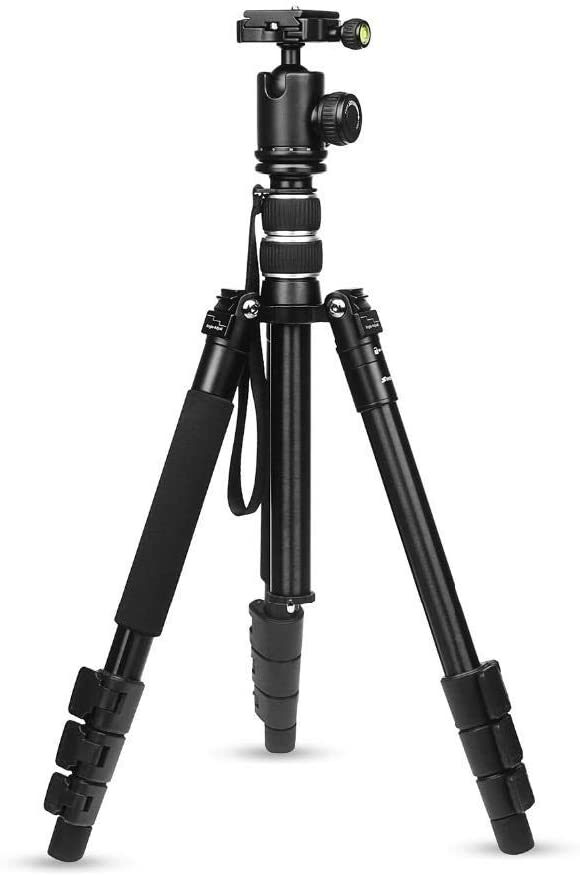 Phone Camera Tripod Compact Lightweight Aluminum Alloy 4-Sections Camera Tripod for DSLR Stand with Ball Head 10kg Max Load 1.4m Max Height Color : Black, Size : One Size