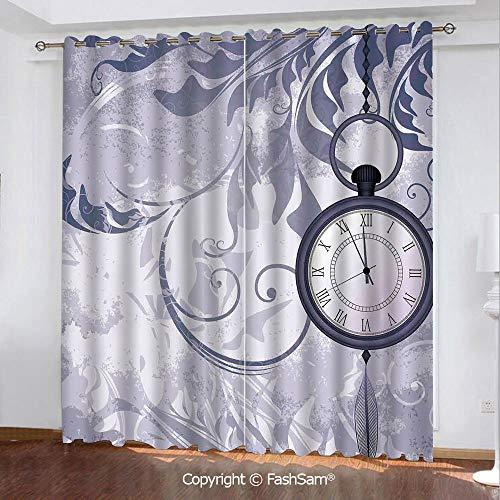 (FashSam Thermal Insulated Blackout Curtains A Pocket Watch on Chain on Classic Ornamental Background with Silhouette of Leaves Window Curtains for Living Room(84