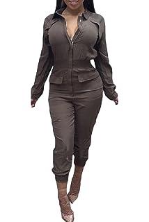 3ff8bd9a9f2 Women s Stylish Long Sleeve Zipper Turn Down Collar Capri Pant Jumpsuit  Overalls
