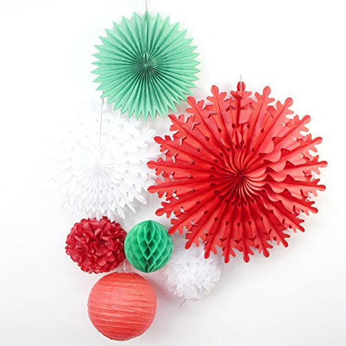SUNBEAUTY Pack of 7 Paper Decoration Kit Snowflake Fan Paper Lanterns Honeycomb Balls for Party Wedding Bridal Shower Birthday Xmas Decorations,Red Green White (Paper Honeycomb Ball)