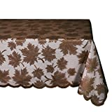 DII 54x72'' Rectangular Lace Tablecloth, Maple Leaf Brown - Perfect for Fall, Thanksgiving, Catering Events, Dinner Parties, Special Occasions or Everyday Use