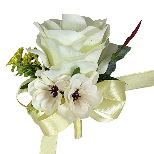 Daisy Rose Corsage - Keepsake Corsage-Artificial faux rose corsage rose daisy ivory yellow accents.Pearl Pin included. Perfect for all events. customization service is available. Build your wedding package
