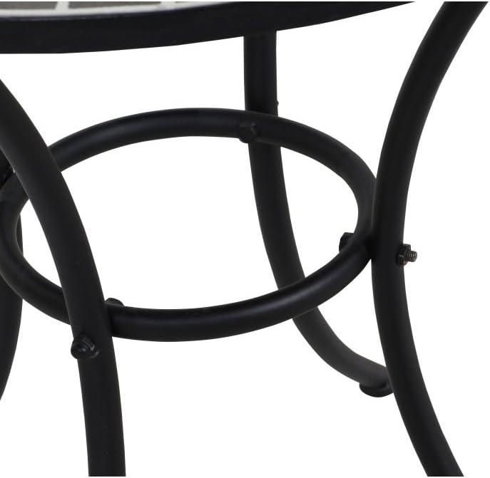 Siena Garden Tisch Stella Fl/äche: Mosaik,Tischplatte: Keramik Gestell: Stahl /Ø60x71cm pulverbeschichtet in schwarz matt