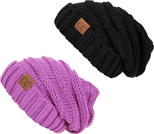 H-6100-2-0661 Oversized Beanie Bundle - Black & Lavender (2 Pack)