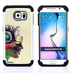 Dragon Case- Dise?¡Ào de doble capa pata de cabra Tuff Impacto Armor h??brido de goma suave de silicona cubierta d FOR Samsung Galaxy S6 G9200- ART PAINTING PORTRAIT COLORFUL PROFILE OIL