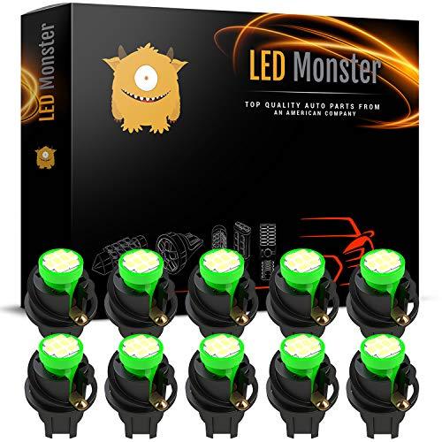 LED Monster T10 194 LED Light bulb 168 LED Bulbs Bright Instrument Panel Gauge Cluster Dashboard LED Light Bulbs Set 10 T10 8 SMD 1206 LED Bulbs with 10 Twist ()