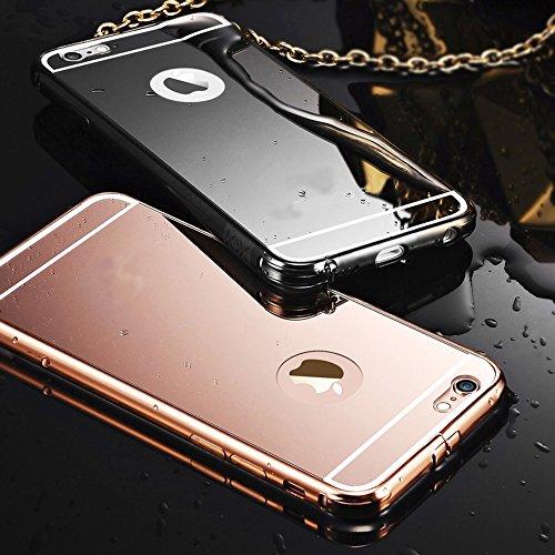 Funda iPhone 6 Sunroyal Case para iPhone 6 6S 4.7 Carcasa Aluminio Carcasa Negro Metal Mirror Bumper Phone Movol Case Hard Cover with Frame Caja del teléfono Protectora funda chic marco + Espejo espa Color2