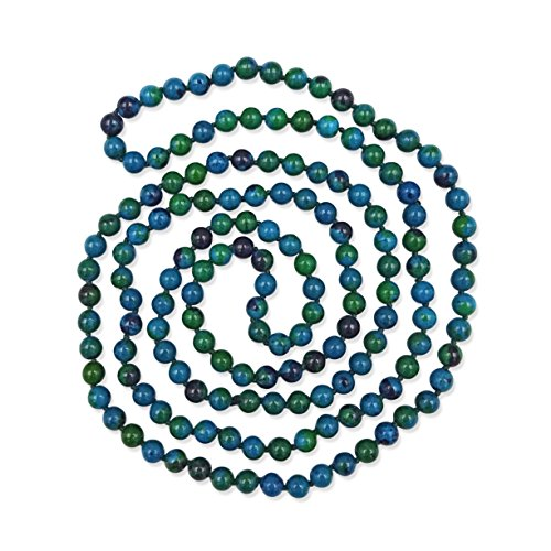BjB Jewelry 60 Inch 8MM Polished Azurite Multi-Layer Long Endless Infinity Beaded Necklace.