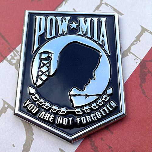 MIA Black with Chrome You are Not Forgotten Emblem Premium Metal Car Truck Motorcycle Logo POW