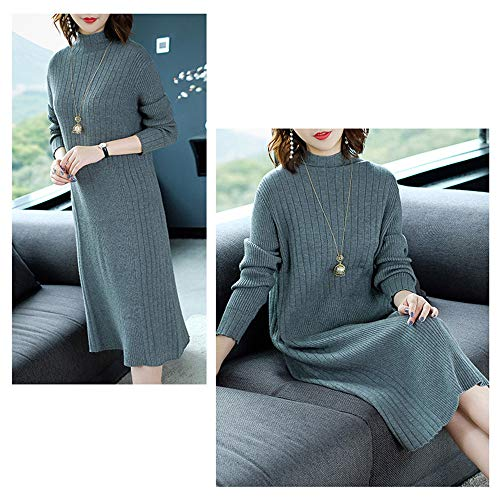 A Dress High Slim Gonna Da Collar Manica Loose Grigio Knit Lungo Lunga Shirloy In Maglione Donna tAwq8Iq