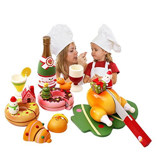 O-Toys Kids Play Food Wooden Kitchen Toys Magnet Pretend Playset Fun Cutting Game Set Party Interactive Halloween Christmas Gifts, Christmas Party (Cutting Tree Games Christmas)
