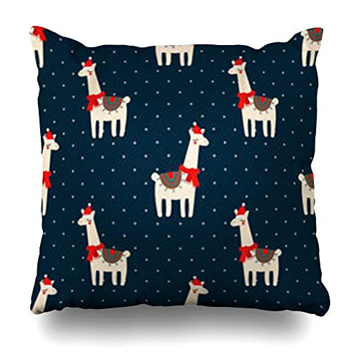 Hitime Throw Pillow Cover Llama Cute Lama Xmas Hat On Dark Blue Drawing Polka Dots Baby Child Wildlife Christmas Holidays Fun Decorative Pillowcase Square Size 18 x 18 Inches Home Cushion Cases