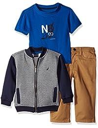 Nautica Baby Boys' Three Piece Set with Fleece Baseball, Tee, Twill Pant