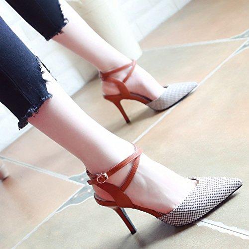 YMFIE Fine Estate e croce croce croce con appuntiti sexy poco profonda alta scarpe con tacco donna sandali alla caviglia,36 UE,un d4e05c