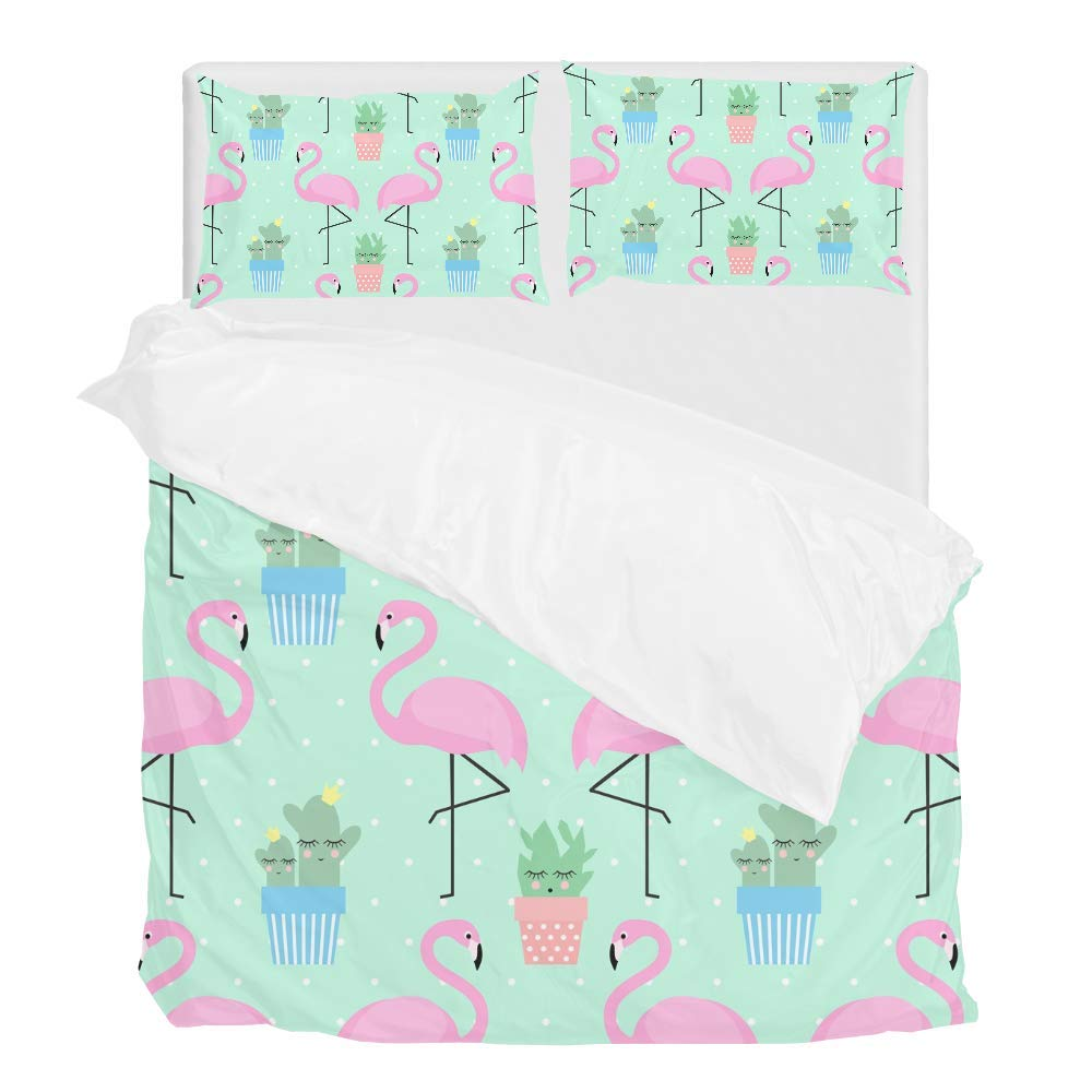 2pcs Duvet Cover Set Twin Soft Polyester Flamingo Cactus Printed Bedding Comforter Cover with 1 Pillow Shams