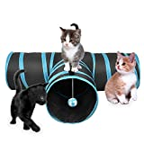 3 Way Cat Tunnel - Creaker Collapsible Pet Toy Tunnel with Ball for Cat - Puppy - Kitty - Kitten - Rabbit (T-shaped)