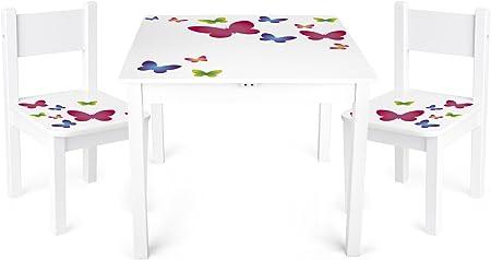 Leomark Yeti tavolo e 2 sedie in legno, tavolino set da cameretta per bambini, gioco di gruppo in classe, mobili per bambini, stanza dei bambini