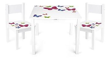 Table Et 2 Chaises Enfant Motif Papillons Chambre Meuble Mobilier Chaise DEnfant