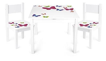 Sedie E Tavoli In Legno Per Bambini.Tavolino Sedie Set Cameretta Per Bambini Tavolo E 2 Sedie In Legno