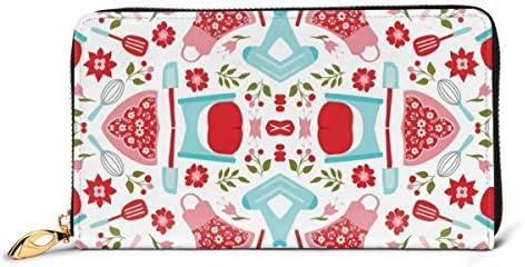 レトロコテージキッチン 本革長財布 ファスナー財布 おしゃれ 大容量 男女共用高級おしゃれなジップレザーウォレットロングハンドバッグ