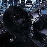 3Pcs Fashion Steering Wheel Covers - Silence Shopping Winter Warm Australia Pure Plush Soft Wool Handbrake Cover Gear Shift Cover Guard Truck Car Accessory 14.96'x 14.96' 1 Set (black)