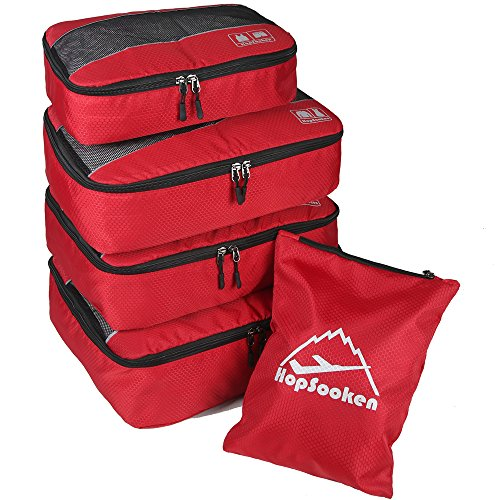 5pc Packing Cubes Set Large Travel Luggage Organizer 4 Cubes 1 Laundry Pouch Bag (Red)