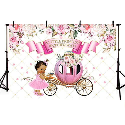 MEHOFOTO Little Princess Baby Shower Pink Floral Photo Studio Booth Background Girl Vintage Carriage Royal Celebration Backdrops Banner for Photography 7x5ft]()