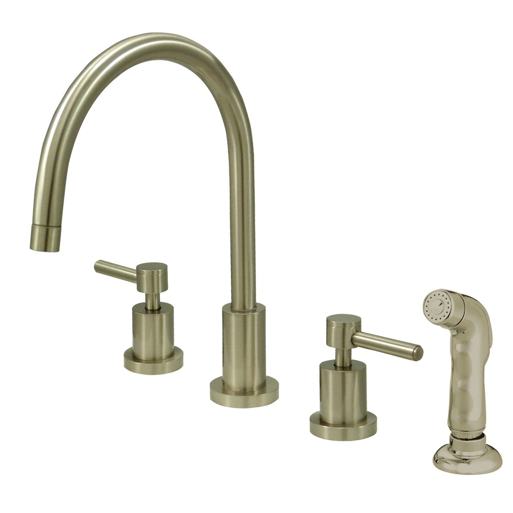 "Elements of Design ES8728DL South Beach 2-Handle Widespread Kitchen Faucet with Non-Metallic Sprayer, 7- 7/8"", Brushed Nickel"