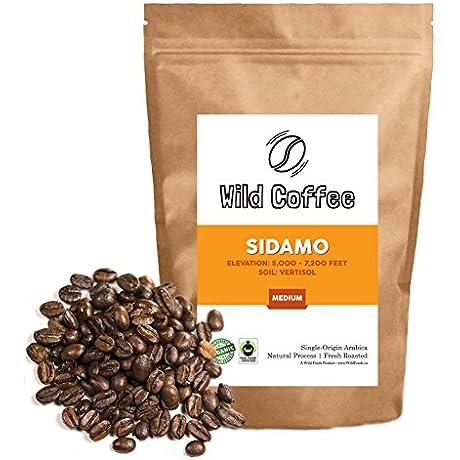 Wild Coffee Organic Fair Trade Single Origin Ultra Premium Fresh Roasted Whole Bean Coffee Sidamo Medium Roast 5 Pound
