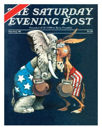 Democrats vs. Republicans, Saturday Evening Post Cover, July/Aug 1980 Giclee Poster Print by Bb