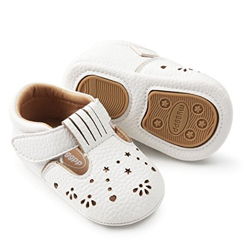 Lanhui Baby Girl Princess Leather Shoes Hollow Out Fashion Toddler Walkers soft (White, 6-12Months)