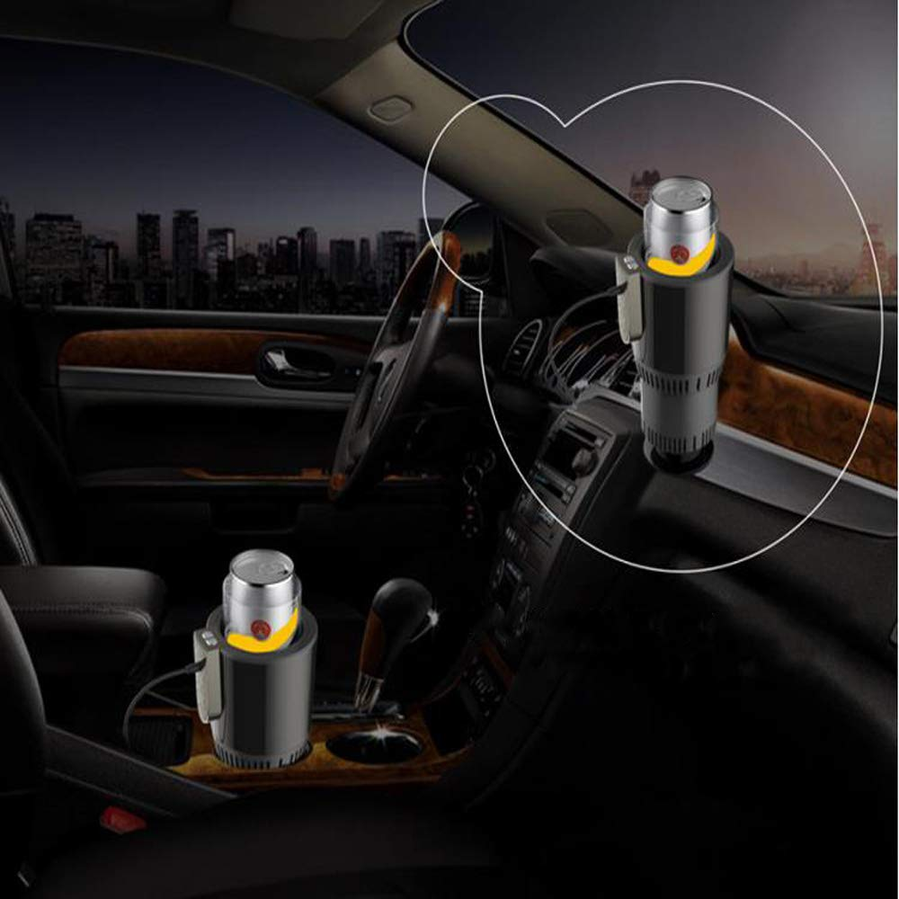 Eco-Friendly Aluminum Can Quickly Cool or Heat Beverages Suitable For Commuting Travel Road trips ABS Plastic NEWXYX 2-in-1 Car Cup Cooler Heater black Milk Beer
