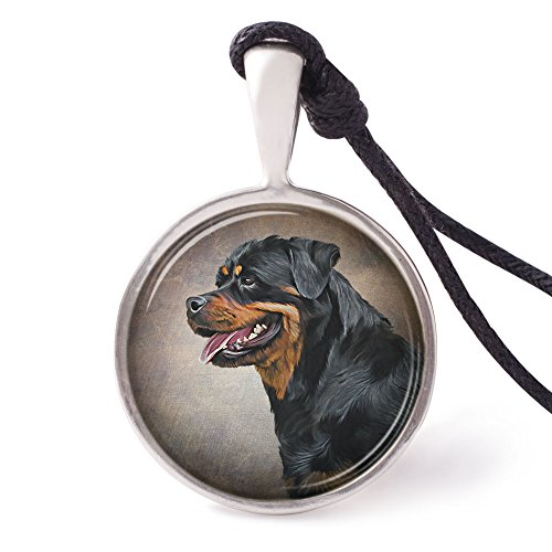 (Vietguild's Rottweiler Dog Necklace Pendants Pewter Silver Jewelry)