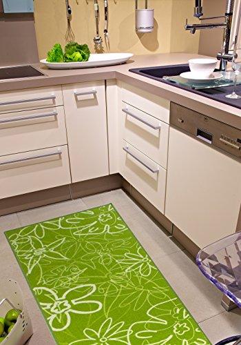 Küchenläufer Grün, pflegeleichter & robuster Läufer mit Blumenmuster, schadstoffgeprüfter Teppichläufer, Farbe:Grün;Größe:67x200cm