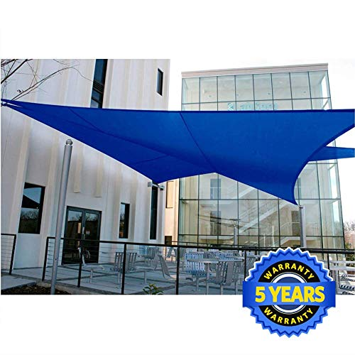 Quictent 185G HDPE Triangle Sun Shade Sail Canopy 98 UV Block Top Outdoor Cover Patio Garden Sand 20 x 20 x 20 ft, Blue