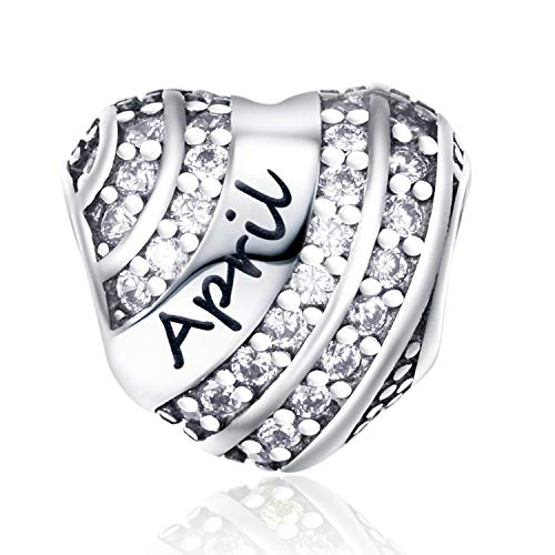 XOYOYZU Birthstone Charm for Pandora Charms Bracelet 925 Sterling Silver Bead Openwork Birthday Charms for Bracelet and Necklace (April)