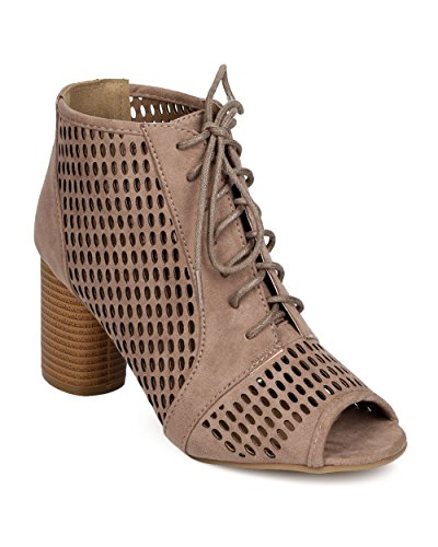 Qupid FF34 Women Faux Suede Peep Toe Lace Up Perforated Cylinder Heel Bootie - Taupe
