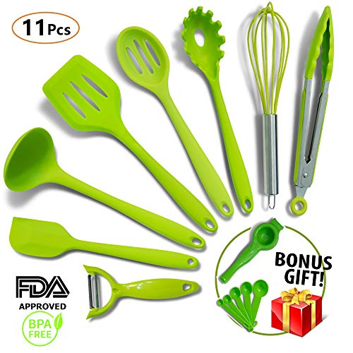 (Silicone Cooking Utensils -11pc- MOST RELIABLE Cooking Utensils For You - FREE GIFT Includes Veggie Peeler & MORE! - Spatulas, Spoons & Tongs - Non-Stick Utensils, Heat Resistant & Dishwasher)