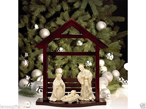 Lenox Innocence Nativity the Holy Family with Wooden Creche by Lenox