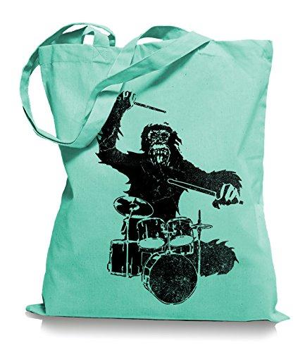 Ma2ca® Gorilla Drummer - Jutebeutel Stoffbeutel Tragetasche / Bag WM101 Mint cxxlVt