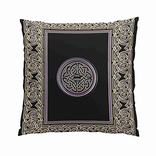 GygardenFancyCeltic Frame and Metallic Celtic KnotHidden Zipper Home Sofa Decorative Throw Pillow Cover Cushion CaseSquare18X18InchTwo Sides Design Printed Pillowcase