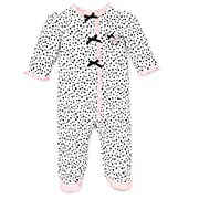 Little Me Baby-Girls Newborn Perfect Poodle Footie, White/Black, 6 Months