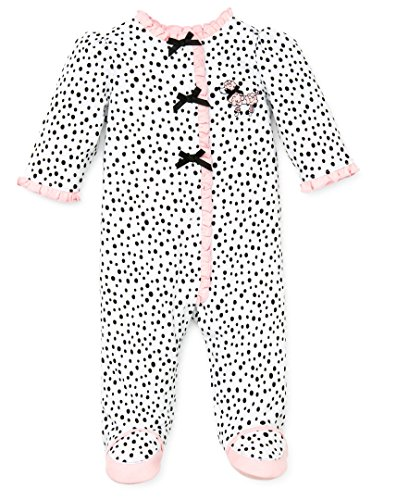 Little Me Baby-Girls Newborn Perfect Poodle Footie, White/Black, Newborn