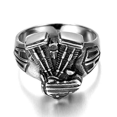 Stainless Steel Ring for Men, Motor Ring Gothic Black Band Silver Band 17*20MM Size 12 Epinki