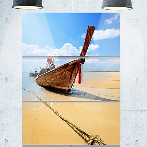 Designart MT8945-3PV Thai Long Tail Boat Beach & shore Metal Wall Art (3 Panels), Blue/Brown, 28x36'' by Design Art